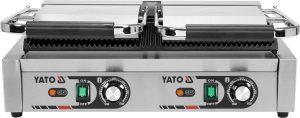 Kontaktný gril - dvojitý - 1 Kontaktný gril - 58 cm dvojitý ryhovaný 3,6 kW. Liatinové vrchné dve platne a spodná sú rýhované. Možnosť nezávisle nastaviť teplotu platní do 300 °C.
