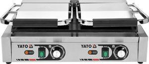 Kontaktný gril - dvojitý YG-04563 - 1 Kontaktný gril - 58 cm dvojitý 3,6 kW. Liatinové platne, vrchné dve rýhované, spodná hladká umožňuje grilovanie viacerých jedál súčasne. Nerezová konštrukcia.