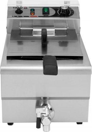 Fritéza 10 L YG-04615 Elektrická fritéza 10 L, jednokomorová s vypúštacím kohútikom na olej. Kvalitný fritovací kôš s rozmermi 210x190x90 mm s plastovou teplovzdornou rukoväťou.
