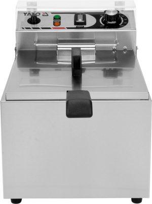 Fritéza 13 L YG-04616 Elektrická fritéza 13 L. Kvalitná fritéza vyrobená z nerezovej ocele s košom o rozmeroch 210x190x150 mm. Nastavenie teploty a ohrievač s výkonom 3,3 kW.