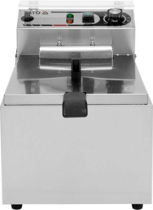 Fritéza 17 L YG-04617 Elektrická fritéza 17 L vyrobená z nerezovej ocele s robustným fritovacím košom s rozmermi 240x220x120mm. Výkonný 5 kW ohrievač, studené zóny.
