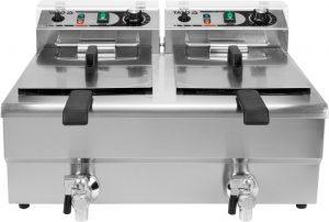 Fritéza 2x10 L YG-04632 Elektrická fritéza 2x10 L. Dvojkomorová fritéza s vypuštacími kohútikmi, automatická kontrola stálosti teploty, dva fritovacie koše, teplovzdorná rukoväť.