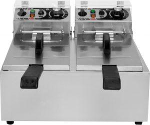 Fritéza 2x6 L YG-04620 Elektrická fritéza 2x6 L. Teleso vyrobené z nehrdzavejúcej ocele. Termostat pre nastavenie teploty do 200°C, oblasť studenej zóny, 2 fritovacie koše.