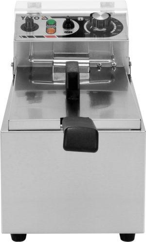 Fritéza 6 L YG-04608 Elektrická fritéza 6 L. Praktická a kompaktná fritéza, vyrobená z nerezovej ocele, s výkonom 2 kW, nastaviteľná teplota, studená zóna.