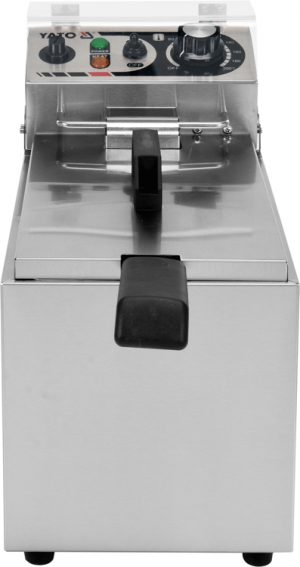 Fritéza 8 L YG-04609 Elektrická fritéza 8 L. Jednokomorová fritéza s výkonom 2,0 kW, vyrobená z nehrzdavejúcej ocele. Nastavenie potrebnej teploty, kôš s rozmermi 210x125x135mm.