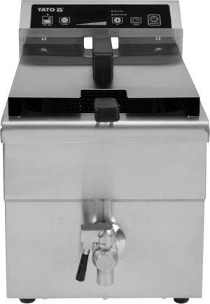 Indukčná fritéza 8 L YG-04705 Indukčná fritéza 8 L. Vyrobená z nerezovej ocele, s vypuštacím kohútikom pre olej, vstavaný časovač a možnosť nastavenia požadovanej teploty do 190°C.